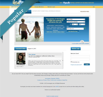 Herpes Dating Site - HSVSingles.com